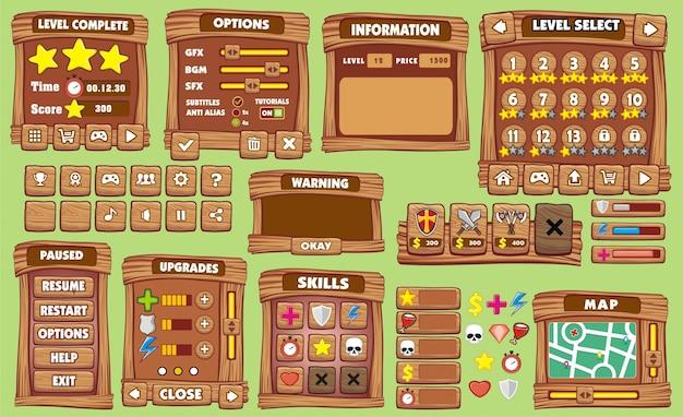 Spiel-benutzeroberfläche im cartoon-stil