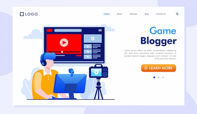 Spiel blogger landing page website illustration
