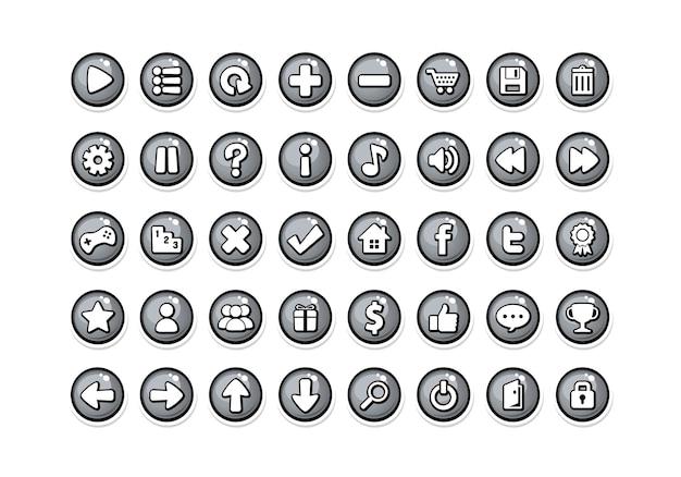 Spiel button vorlagen grau
