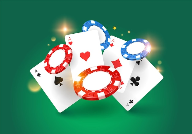 Spiel casino design mit flying chips und casino karten i.