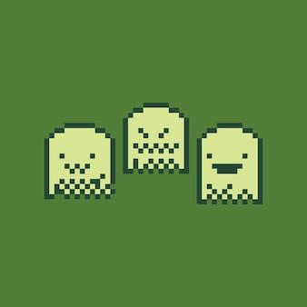 Spiel-farbgeistcharakter der pixelkunstkarikatur retro-