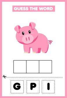 Spiel für kinder errate das wort schwein p