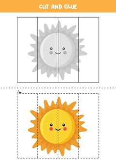 Spiel für kinder schneiden und kleben. cartoon sun. schneidpraxis für kinder im vorschulalter. lernarbeitsblatt für kinder.
