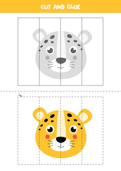 Spiel für kinder schneiden und kleben. illustration des niedlichen karikaturleopardengesichtes. schneidpraxis für kinder im vorschulalter. lernarbeitsblatt für kinder.