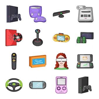 Spiel-gadget-cartoon-set-symbol. lokalisierte gesetzte ikonentechnologie der karikatur. spiel-gadget.