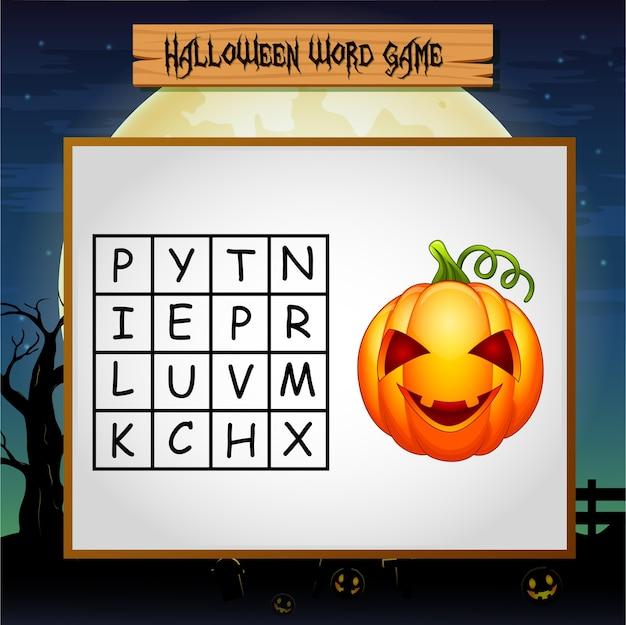 Spiel halloween finde das wort des kürbises