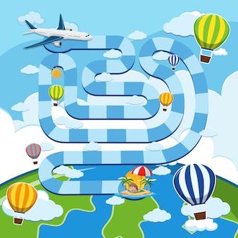 Spiel mit flugzeug und ballons im himmel