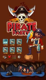 Spiel mit piratenthemahintergrund