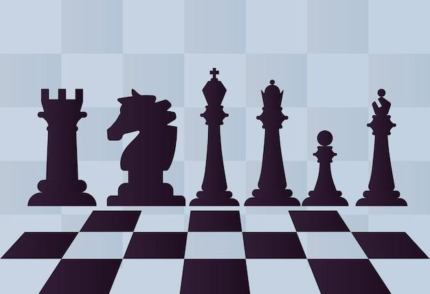 Spiel mit sechs schachfiguren