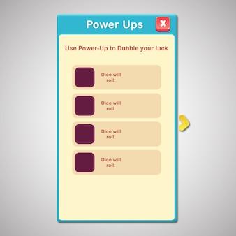 Spiel power up popup
