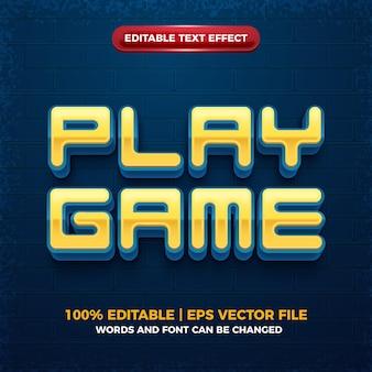 Spiel quadratischen 3d-cartoon bearbeitbaren texteffekt spielen