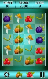 Spiel-schablone des match-drei mit waldfruchtillustration