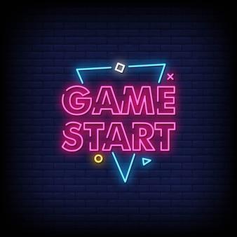 Spiel start neon signs style text