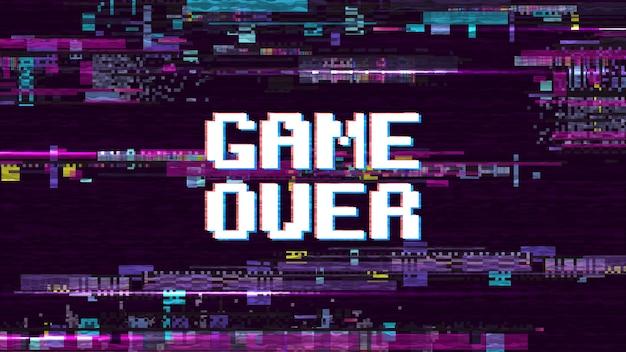Spiel über fantastischem computerhintergrund mit effekt-vektorschirm der störschubgeräusche retro-. spiel über pixelanzeige, videocomputertextillustration