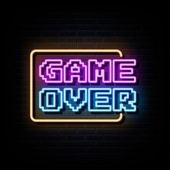 Spiel über leuchtreklamen vektor-design-vorlage im neon-stil