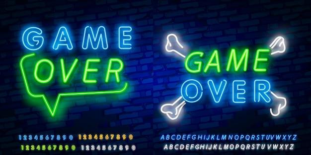 Spiel über neon text