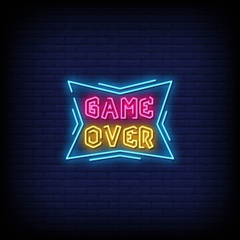 Spiel über neonzeichen stil text