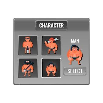 Spiel ui charakterauswahl stein pop-up