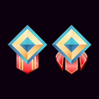 Spiel ui glänzende goldene diamant rang abzeichen medaillen