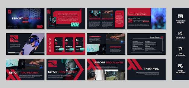 Spiel- und esport-präsentation, powerpoint-vorlage mit dunklem hintergrund