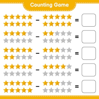Spiel zählen, anzahl der sterne zählen und ergebnis schreiben. pädagogisches kinderspiel