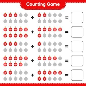 Spiel zählen, anzahl der weihnachtskugeln zählen und ergebnis schreiben. pädagogisches kinderspiel, druckbares arbeitsblatt