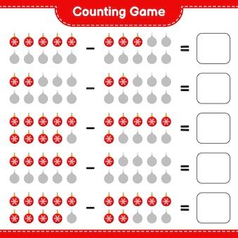 Spiel zählen, anzahl der weihnachtskugeln zählen und ergebnis schreiben. pädagogisches kinderspiel