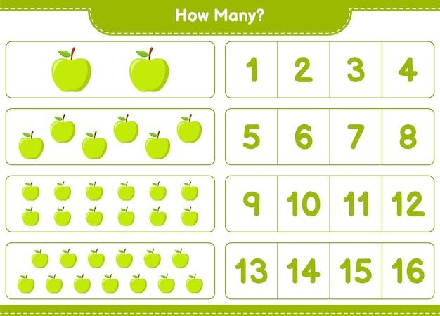 Spiel zählen, wie viele apple. pädagogisches kinderspiel, druckbares arbeitsblatt
