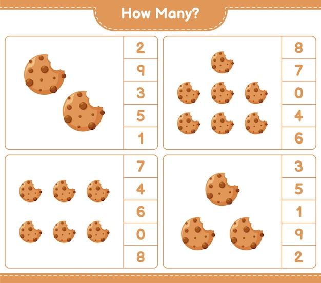 Spiel zählen, wie viele cookies. pädagogisches kinderspiel, druckbares arbeitsblatt,