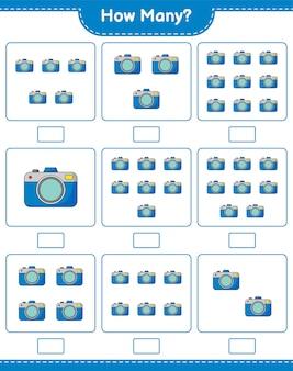Spiel zählen, wie viele kamera. pädagogisches kinderspiel, druckbares arbeitsblatt
