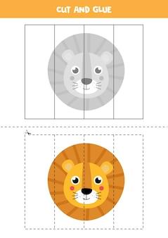 Spiel zum ausschneiden und einfügen für kinder. pädagogisches logisches rätsel für kinder im vorschulalter. schneidpraxis für kinder. illustration des löwengesichtes im karikaturstil.