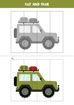 Spiel zum ausschneiden und einfügen für kinder. pädagogisches logisches rätsel für kinder im vorschulalter. schneidpraxis für kinder. illustration des safariautos im karikaturstil.