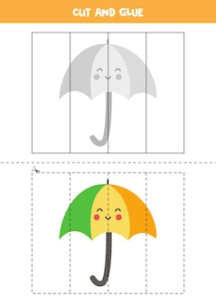 Spiel zum schneiden und kleben für kinder mit süßem regenschirm. schneidpraxis für kinder im vorschulalter.