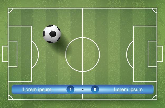Spielanzeigetafelplanhintergrund mit hintergrund des fußballs und des grünen grases.