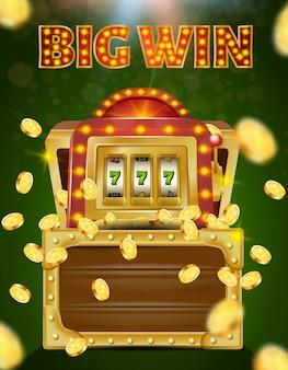 Spielautomat mit 777 auf dem bildschirm in holzkiste