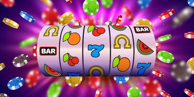 Spielautomat mit fliegenden casino-chips gewinnt den jackpot. großer gewinn