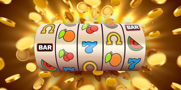 Spielautomat mit fliegenden goldenen münzen gewinnt den jackpot. großer gewinn