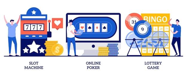 Spielautomat, online-poker, lotteriespielkonzept mit winzigen leuten. spielsucht, internet-casino-abhängigkeit, gefährlicher unterhaltungszusammenfassungsvektorillustrationssatz.