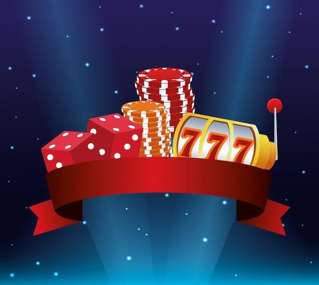 Spielautomat würfelt stapelchips, die spielende kasinofahne des spiels wetten