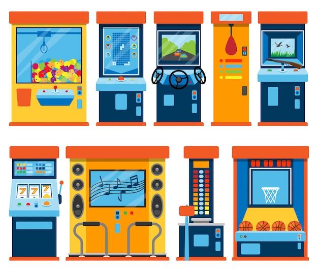 Spielautomaten-arcade-glücksspiele im casino spielen spieler oder spieler wetten in spielcomputer-maschinen-gameplay-klaue ein spielzeug oder spielen alte konsolenillustration lokalisiert auf weißem hintergrund