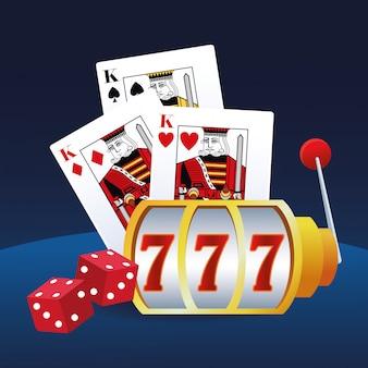 Spielautomatenkarten und würfel, die spielendes kasino des spiels wetten