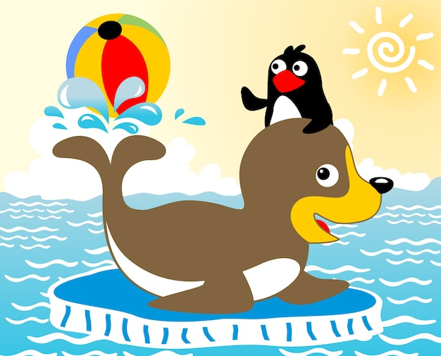 Spielball mit walross und pinguin, vektorkarikaturillustration