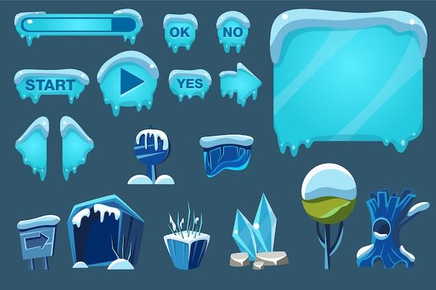 Spielbenutzeroberfläche mit steuerungs- und landschaftselementen illustrationen für apps