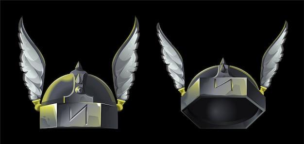 Spieldesign-ikone für wikinger oder mittelalterliches thema. zwei alte metallhelm mit dekorativen flügeln für starken krieger. sie befinden sich in verschiedenen positionen vorne und werden zur animation angehoben. moderner stil.