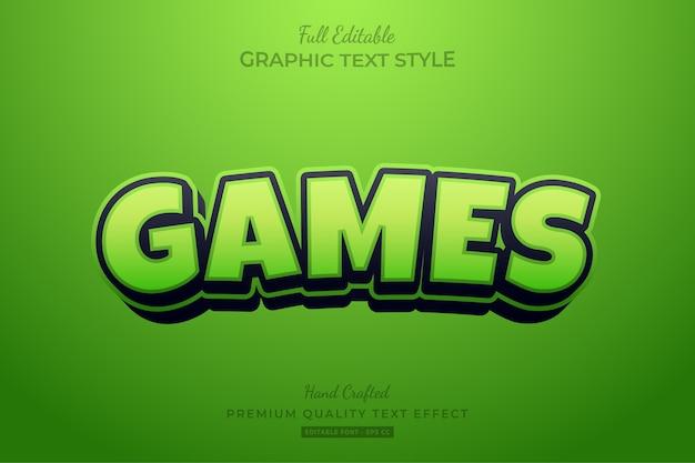 Spiele green cartoon editable text style-effekt