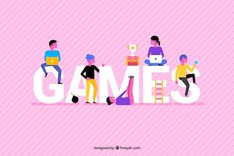 Spiele Hintergrund mit bunten Menschen