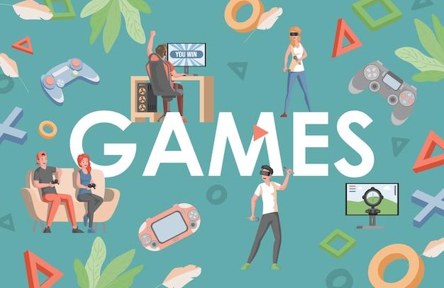 Spiele wort flach banner design