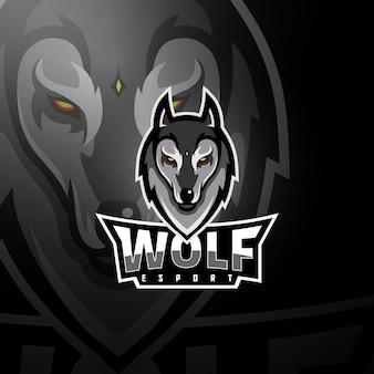 Spielelogo mit grauem wolfskopf