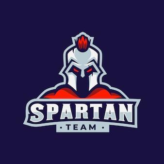 Spielemaskottchen mit spartanischem logo