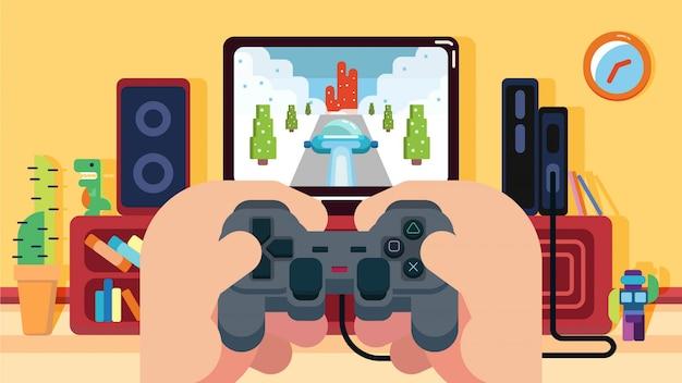 Spielen des autorennvideospiels im haus